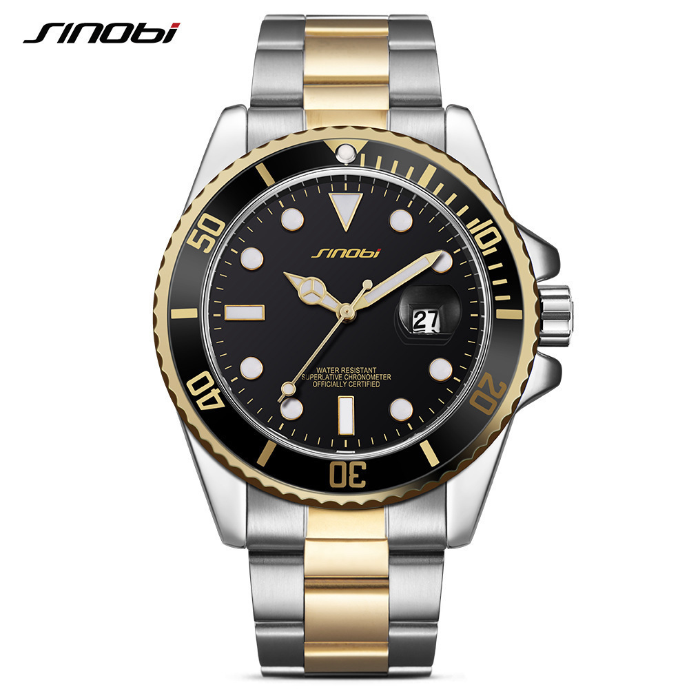 Sinobi Brand Luxury Men Watch Fashion Stainless Steel Wrist Quartz Watches Man Waterproof Calendar Clock Relogio Masculino ybotti luxury brand men stainless steel gold watch men s quartz clock man sports fashion dress wrist watches relogio masculino