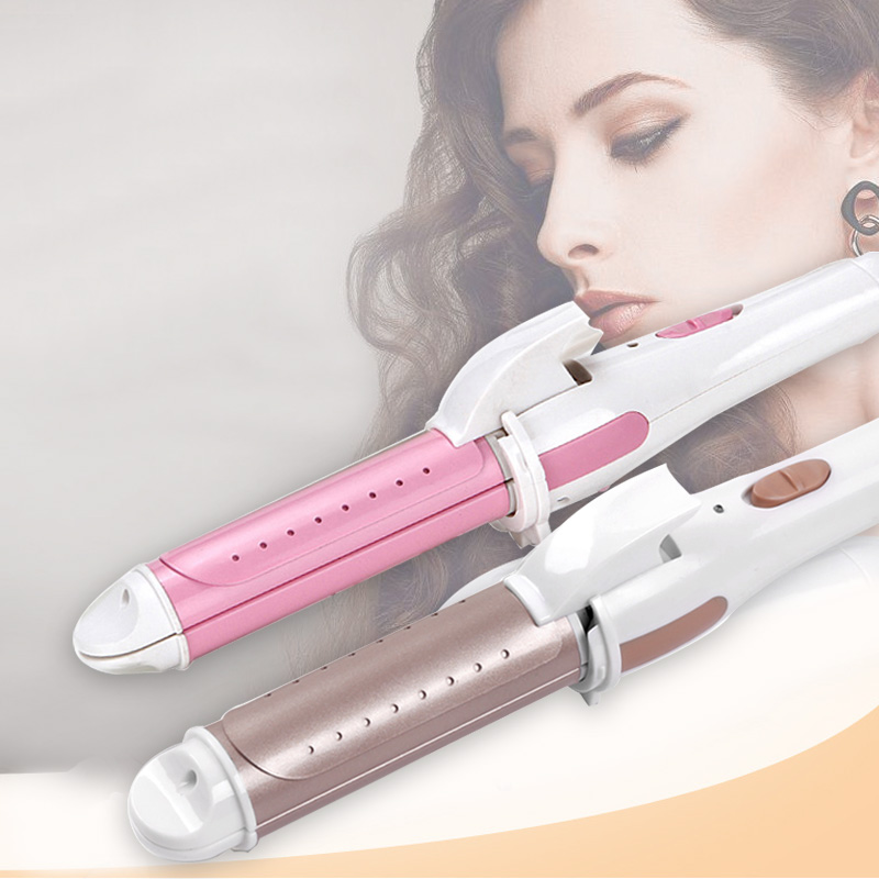 Hair Curler Straightener 2 In 1 Styling Curling Straightening Machine Ceramic Heating Material Water Molecule Hair Caring Curly