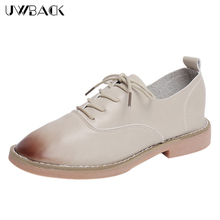 Uwback 2017 New Spring Brogue Shoes Women Mixed Color Lace-Up Casual Shoes Mujer Round Toe Soft Leather Cow Muscle Shoes XJ187