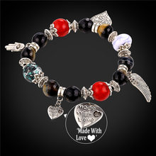 Heart Charm Strand Bracelet for Women 2016 New Fashion Jewelry Gift Fancy Stone Beads Bangle Bracelet With Hamsa Hand Wing H1776(China)