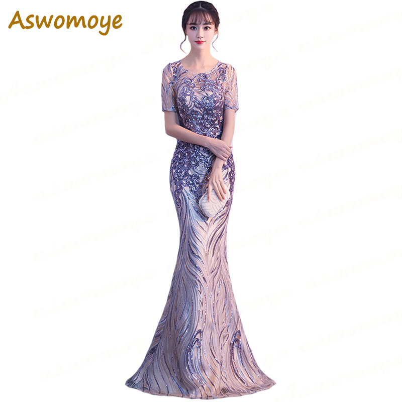 Mermaid Long   Evening     Dress   2018 New Arrival Appliques Sequined Party   Dress   Sexy Illusion O-neck robe de soiree Haute Couture