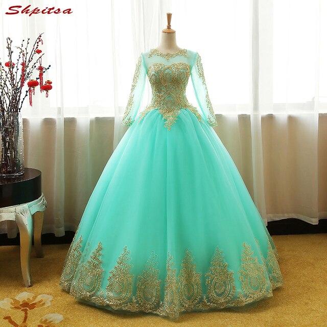 5adbd01829e Зеленая мята с длинным рукавом принцессы Бальные платья бальное платье  Обувь для девочек Маскарад сладкий 16