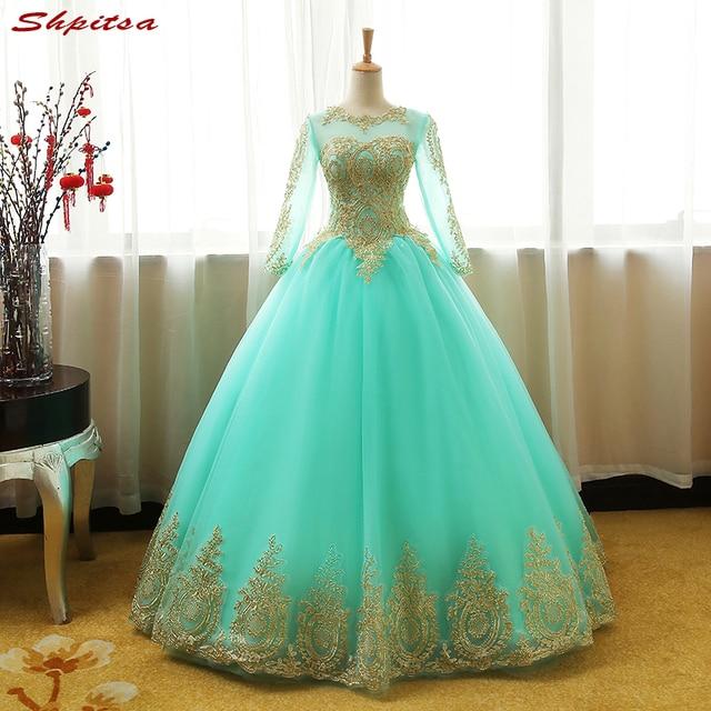 f5a97a136 Menta verde manga larga princesa Vestidos de quinceañera bola Niñas  Masquerade dulce 16 Vestidos bola vestidos