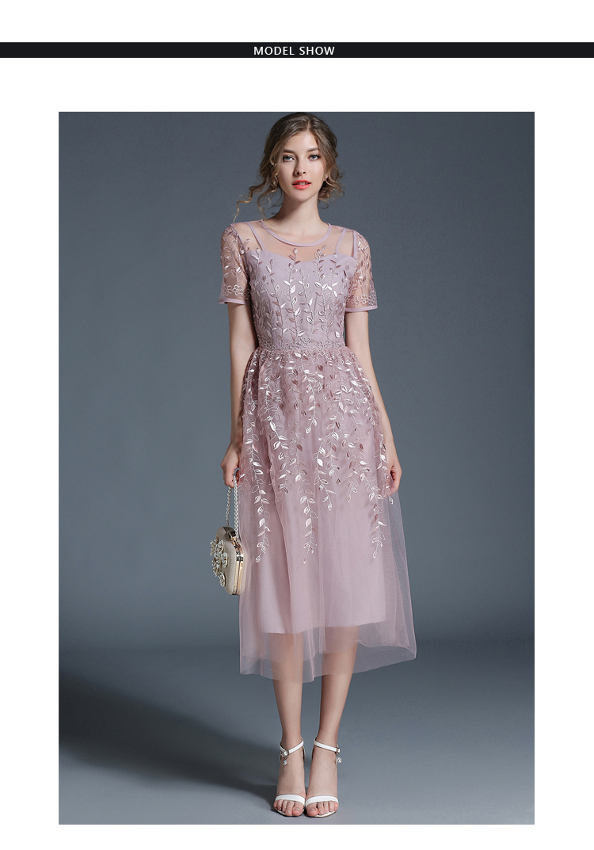 Elegant Mesh Short Sleeve Sky Blue Flower Dress