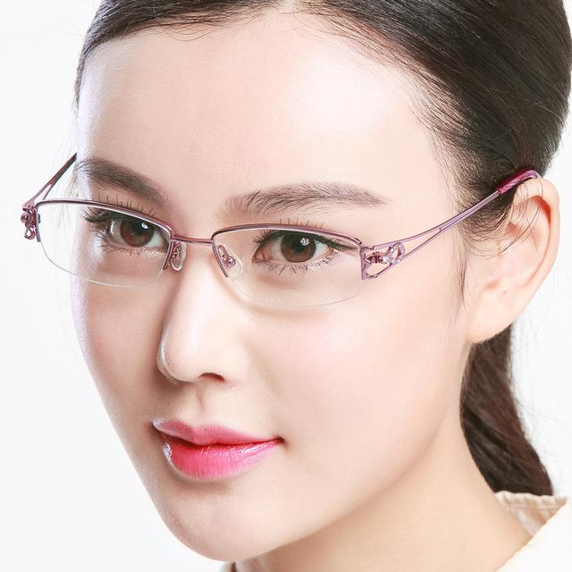 Exceder titanium quadro miopia olho quadro de imagem pura luz senhora óptica óculos de miopia moda metade quadro quadro de imagem d 81491