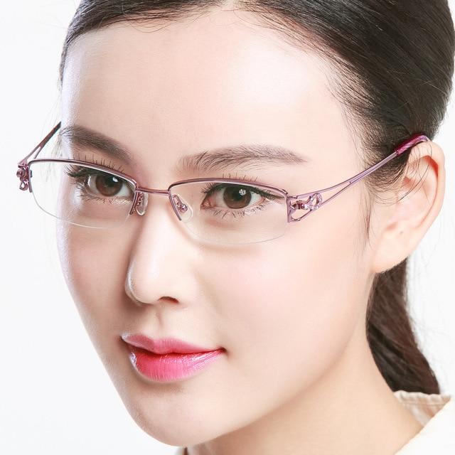 Exceed Light Pure Titanium Frame Myopic Eye Picture Frame Ma'am Optics Myopia Glasses Fashion Half Frame Picture Frame D 81491
