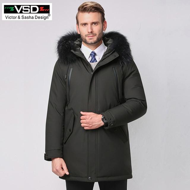 VSD Новинка зимы утка пуховик натуральный меховой воротник Мужская Мода Высокое качество одежда для пап повседневные куртки утепленные парки V888