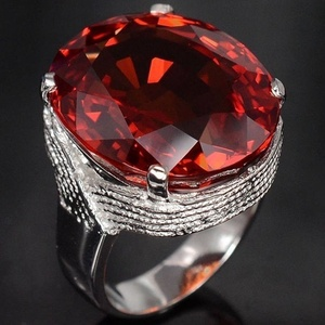 Hot Sale Trendy Big Egg Shaped Ring Opening Cuff Hand Red Color Rings Index Finger Jewelry Ring(China)