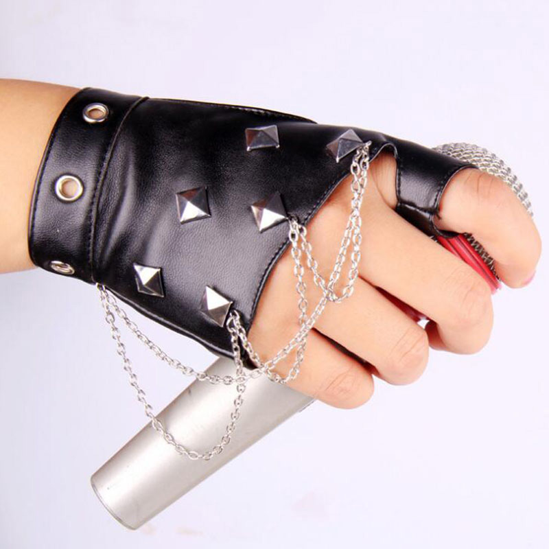 Unisex Punk Party Fingerless Leather Glove Women Rivet Personality Nightclub Singer Female Glove Men Half Finger Dance Glove 215
