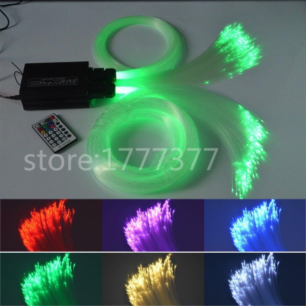 DIY RGB LED Optic Fiber Lights 0.75mm(350pcs*2m) optical fiber 20W light source Decorative lights side glow fiber optic lights 2w dc 12v car home decorative light illuminator constant current power supply 24 key remote rgb