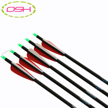 12pc 77.5cm Spine 400 3″ Plastic Feather Mix Carbon Arrows with Changeable Arrowhead for Hunting and Archery Shooting