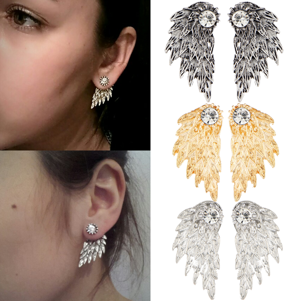 2017 New Brand Fashion Bohemian Gold Color Crystal Angel Wings Stud Earrings For Women Girls Party Jewelry Accessories