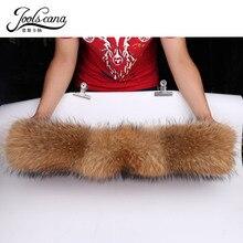 JOOLSCANA real raccoon fur collar winter scarf women neck cap 100%natural wider bigger luxury