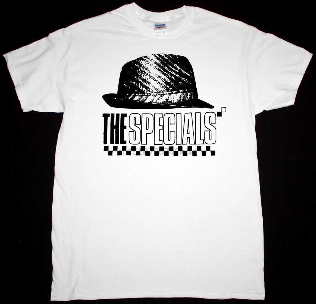 De Specials Hoed Heren Wit T-shirt Ska 2 Tone Madness De Selecter Slechte Manieren