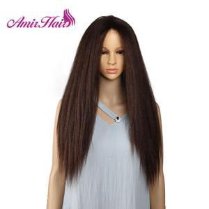 Image 1 - Amir uzun Yaki Kinky düz sentetik peruk afrika amerikan kadınlar için doğal siyah kahverengi Afro peruk ısıya dayanıklı iplik