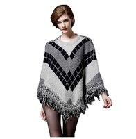 2017 Mulheres Da Moda Camisola Puxar Pullover Cardigan Capas E Ponchos Capa de Inverno Com Borla Do Vintage Boêmio Camisola (Cinza, um S