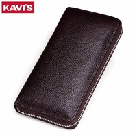 KAVIS Genuine Leather Long Wallet Men Female Male Cuzdan with Women lady Zipper Phone Clutch Walet Handy Coin Purse PORTFOLIO
