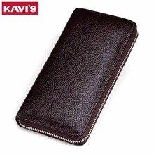Kavis couro genuíno longo carteira masculina do sexo feminino cuzdan com mulher senhora zíper telefone embreagem walet carteira de moeda acessível carteira