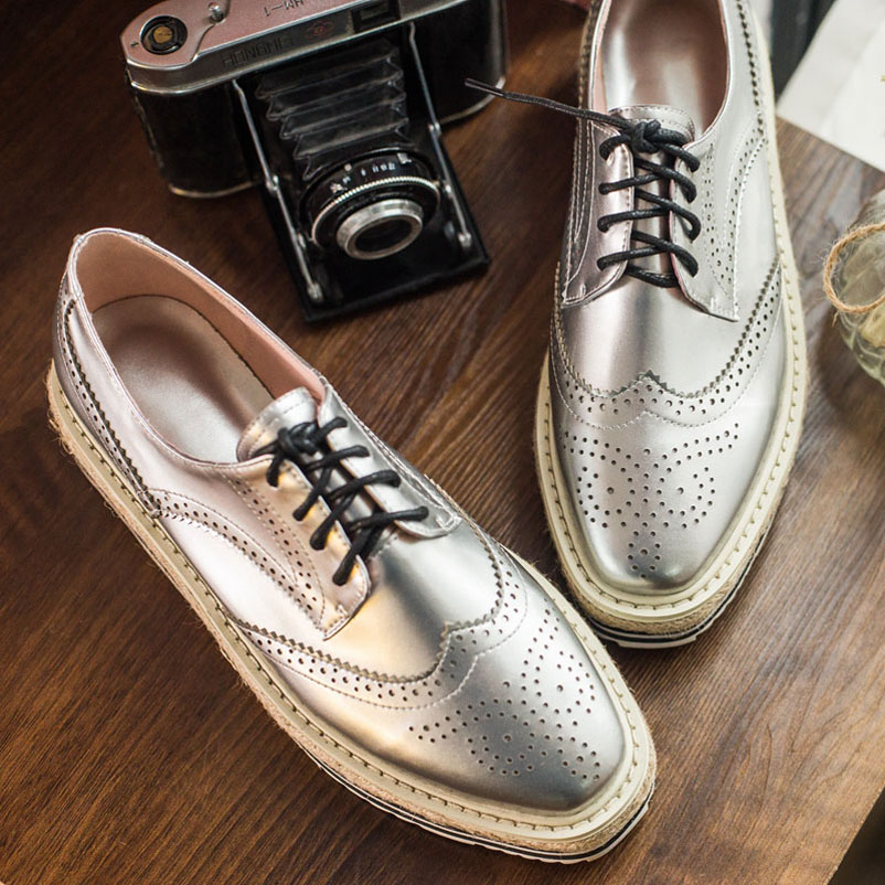 ФОТО 2016 Plus Size 45 Shoes Woman Genuine Leather Oxfords Woman Flat Platform Creepers Lace Up Ladies Famous Oxford Shoes for Women