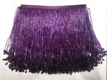 purple 5 .5Yard 15CM Long Lace bead tube lace Tassel Fringe Lace Trim Ribbon Sew Latin Dress Stage Garment Curtain Accessorie tassel trim flounce layered neckline dress
