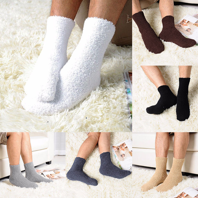Hot Men Thick Winter Warm Coral Fleece Slipper Floor Socks Non-slip Towel Socks