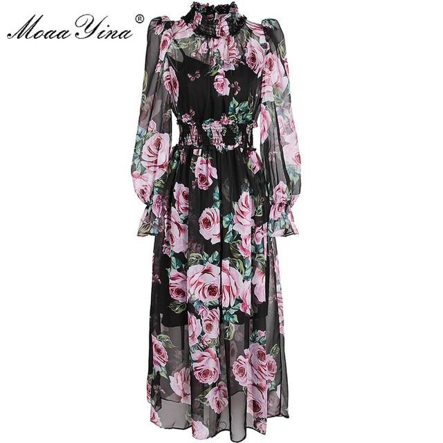 b1514f7c27d MoaaYina 2018 Fashion Summer Designer Dress Women s Long sleeve Rose Print  Vintage Chiffon Beach Bohemian Mid
