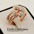 Rose Gold Plated Austrian Rhinestones 3 in 1 Clovers Style Lady Finger Ring Wholesale