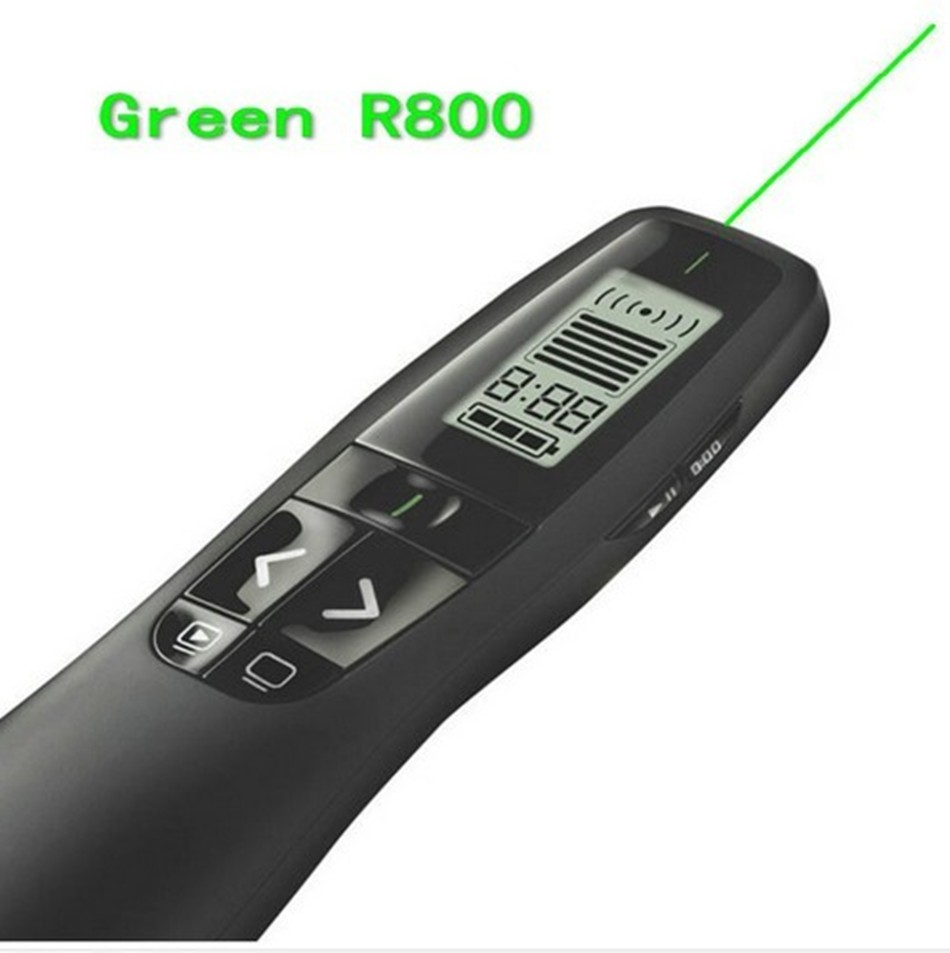 JSHFEI 2.4 GHz wireless USB Logitech R800 Remote Control Page Turning Green laser Pointer Pen wireless Presentation presenter lc 3000 2 4hz usb wireless presenter w red laser pointer silver black 2 x aaa page 1