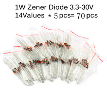 70pcs/lot  1/2w 0.5W regulator 3.3-30V 14VALUES*5pcs  1N4728A-1N4751A electronic Kit