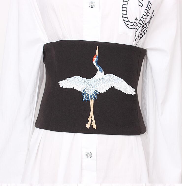 Women's Runway Fashion Bird Embroidery Fabric Cummerbunds Female Dress Corsets Waistband Belts Decoration Wide Belt R1670