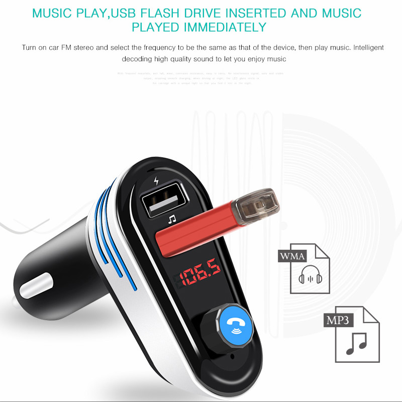 Car Audio FM Transmitter Music Player LED Display Stereo Hands-free w// Dual USB