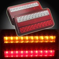 1 Pair 20 LED 12V Tail Light Car Truck Trailer Stop Rear Reverse Auto Turn Indicator