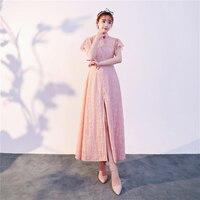 2019 Luxury Lace Modern Ao Dai Dresses With Pearl Modified sexy high split Vietnam Chinese Traditional cheongsam aodai fashion