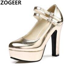 b2192b879e Com Tira no tornozelo Mulheres Bombas Plataforma Saltos Altos Quadrados Moda  Cinta Fivela Sapatos de Casamento