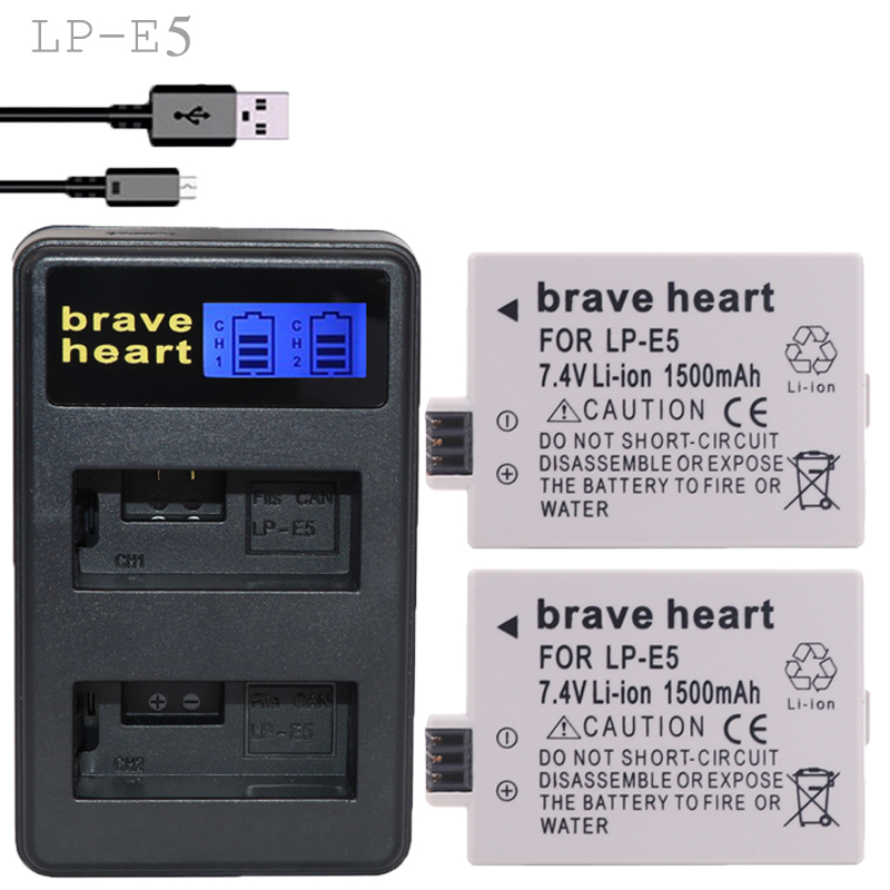 2pcs Lithium Battery Lp-e5 Bateria Lp E5 Digital Camera Battery Lpe5 + Charger For Canon Dslr Eos 500d 450d 1000d Kiss X3 Parts To Win A High Admiration