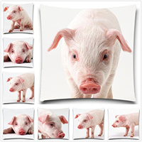 A pig caught by a lens 2D print creative Pillow case Square cotton polyester cushion cover 5 size 9 style