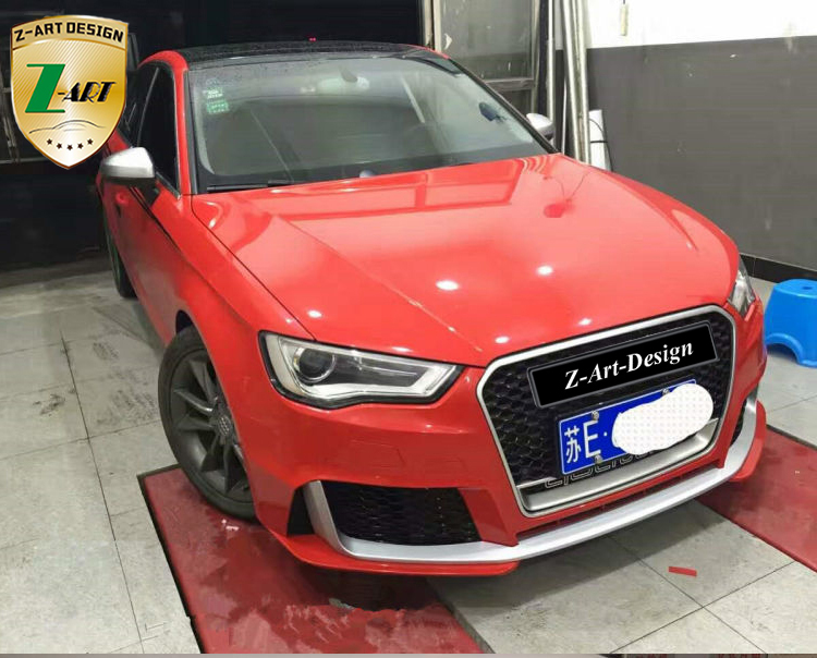 Z-ART for RS3 looks body kit for Audi A3 sedan A3 sportback 2008-2013 2014-2017 front bumper +rear diffuser for Audi A3