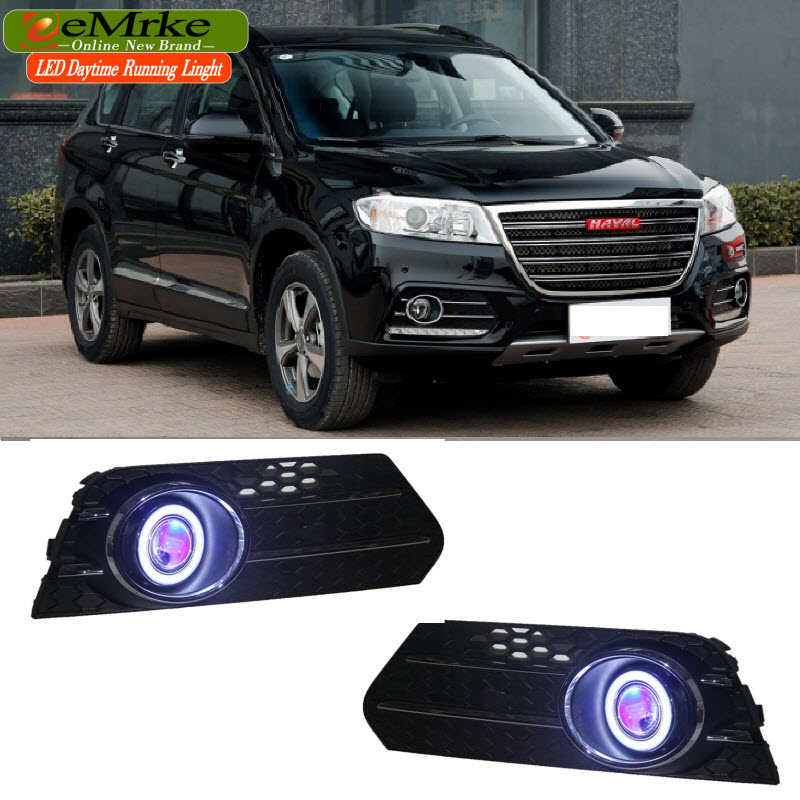 EEMRKE 2in1 Fog Lights Lamp For Haval H6 Sport Halogen Bulbs H3 55W LED Angel Eye DRL Daytime Running Light eemrke for toyota vios yaris belta 2007 2013 led angel eye drl daytime running light halogen yellow h11 55w fog lights