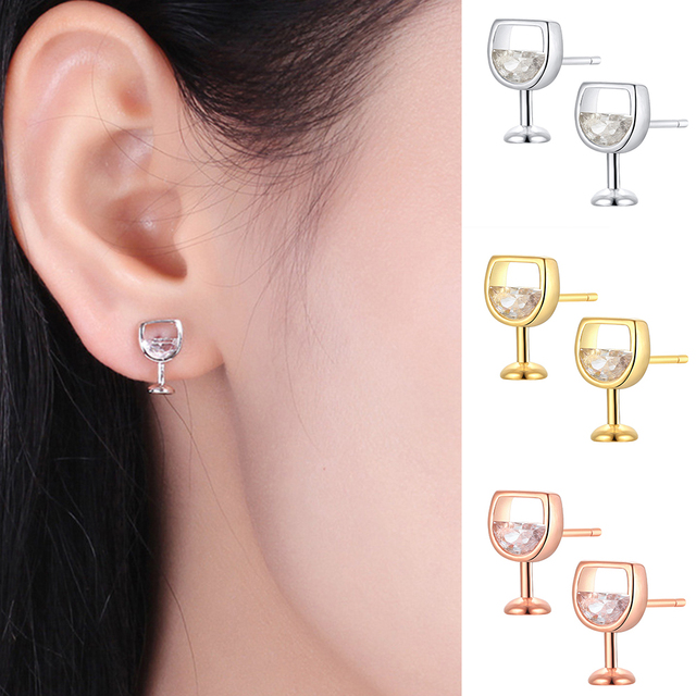 Moda simples brincos femininos oco vidro de vinho cúbico zircônia orelha brincos brincos jóias presentes 3