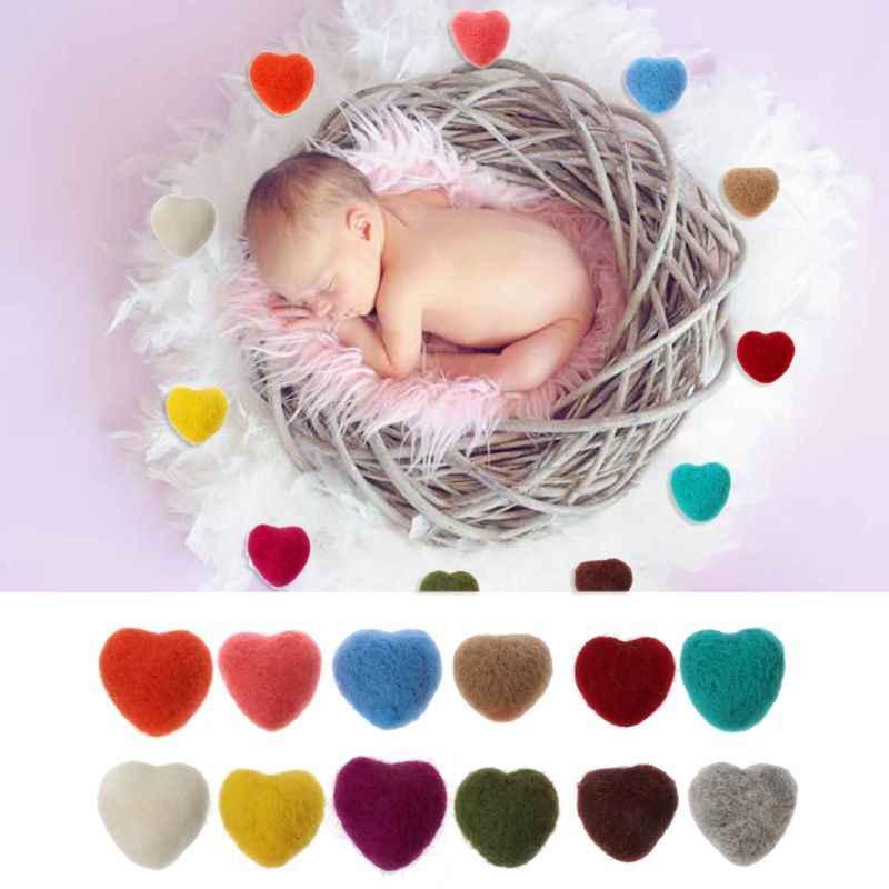 Accesorios en forma de corazón de fieltro para fotografía de recién nacido