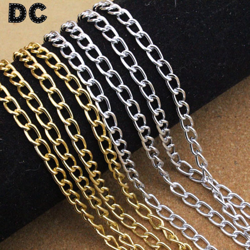 DC 5meters/lot Gold/Silver Color Metal Bulk Rolo Link Necklace Chains 4.5*8.1mm for DIY Jewelry Making Findings Components F1645