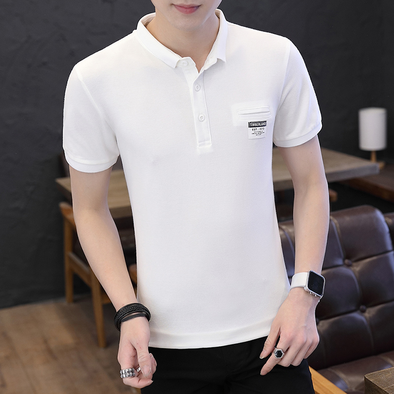 Mens Polo Shirt Summer Style Men Business Casual Solid Color Short Sleeve Polo Shirt Slim Cotton Polo Shirt Men Fake Pocket 1