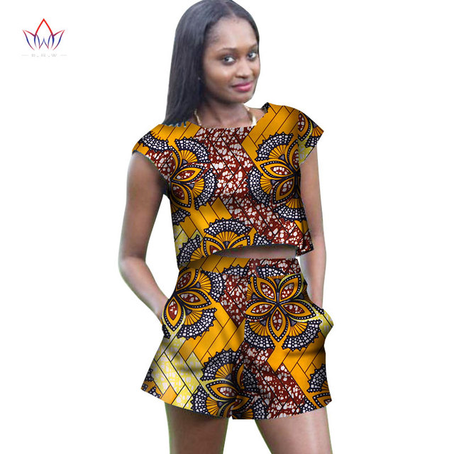 9cce3a49fa94e 2018 Summer Two Piece Set Wax Top and Pant Women cotton Suits Two Piece Set  African Women o-neck Clothing Plus Size 6xl WY2938