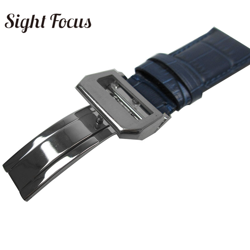 Image 3 - 22mm Men's Blue Watch Band for IWC Calf Leather Watch Strap Alligator Grain PORTUGIESER CHRONOGRA Bracelet Belt Pulseira Relogio-in Watchbands from Watches