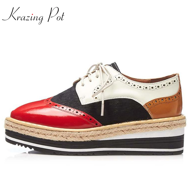 Krazing Pot 2018 brand shoes cow leather horsehair high heels shoes women pumps mixed color lace up platform oxford shoes L13 krazing pot 2018 cow leather simple design breathable high heels hollow women pumps round toe brown white color brand shoes l92