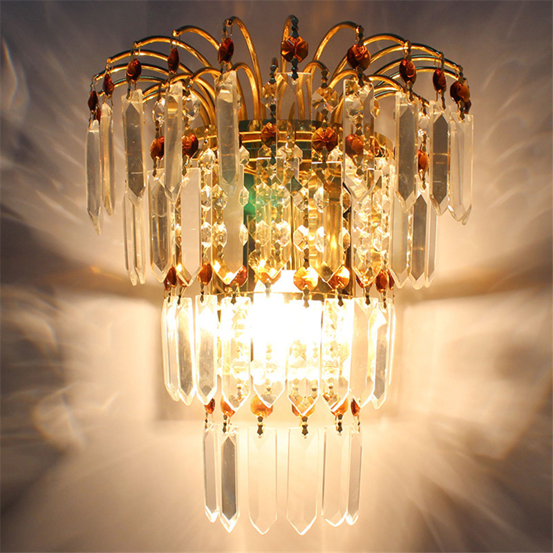 European Modern K9 Crystal Sconces Living Room Bed Corridor Project Wall Lamps LED Lighting