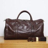 LANSPACE Men S Leathe Travel Bag Fashion Leather Luggage Fashion Large Size Handbag