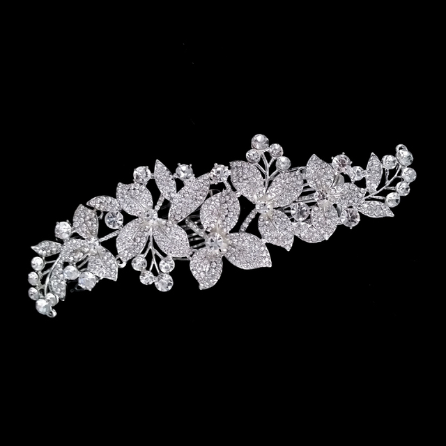 Rose Gold Pink Plant Bridal Headpiece Leaf Flower Crystal Pearl Wedding Hair Combs For Pearl Women Bride Headdress Accessories