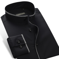 Men S Slim Fit Banded Collar Dress Shirt With Black Piping Comfortable Cotton Solid Male Thin
