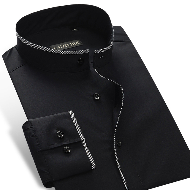 f43b2ed9f Men's Slim-fit Banded Collar Dress Shirt with Black Piping Comfortable  Cotton Solid Male Thin